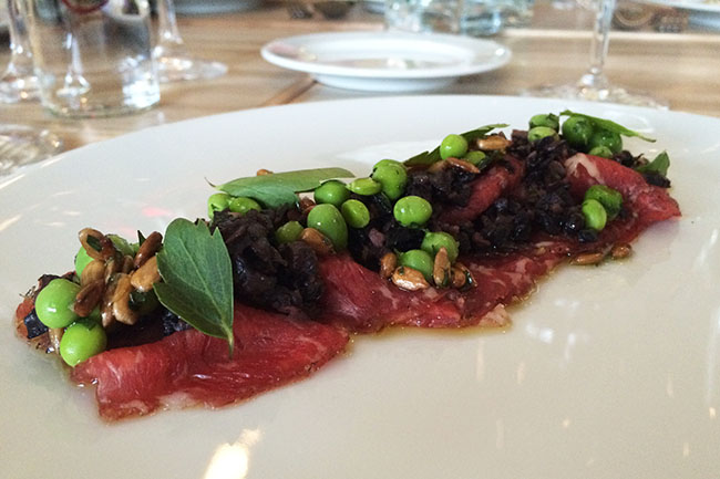 Beef carpaccio at Beach Bay Café (Jess Fleming/Vancity Buzz)