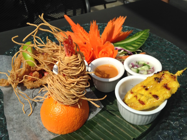 Appetizer platter with prawn, chicken satay, and calamari (Lindsay William-Ross/Vancity Buzz)