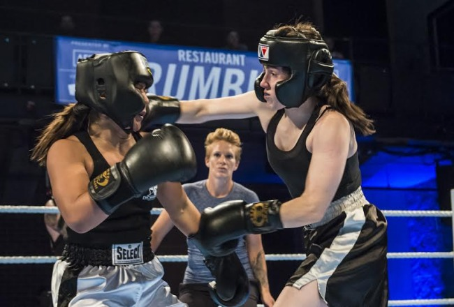 Claire Allen throwing a right hook. Image: Guy Rowland