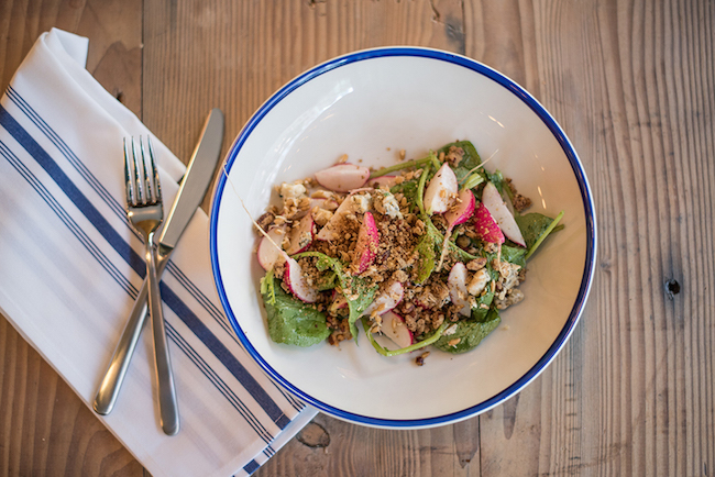Radish, Country Blue, Pecan Streusel, Sprouted Grains (Photo courtesy Royal Dinette)