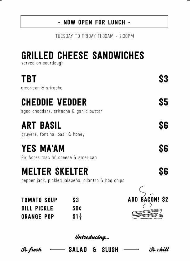 Menu image courtesy Hi-Five Grilled Cheese