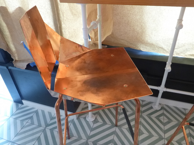 Copper chair, hand-painted tiles (Lindsay William-Ross/Vancity Buzz)