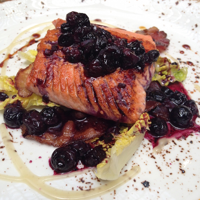Blueberries can enhance the flavour of BC salmon, too, like at this dish from YEW seafood + bar at the Four Seasons (Lindsay William-Ross/Vancity Buzz)