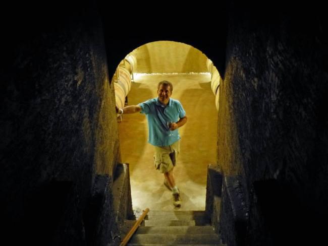 Winemaker George Hanson in his cave (Seven Stones)