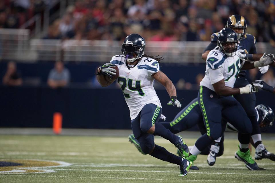 Seahawks RB Marshawn Lynch rushes against the St. Louis Rams. Image: Seattle Seahawks / Facebook
