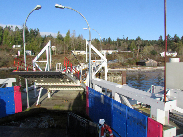 Mill Bay Ferry Terminal ramp in an upright position. Photo: Flickr/Andy Nystrom