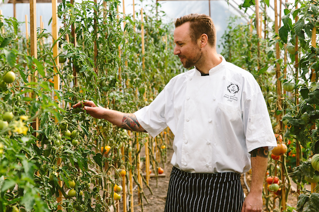 Chef Derek Bothwell inside the tomato hoop house at Earthwise (Photo courtesy Chill Winston)