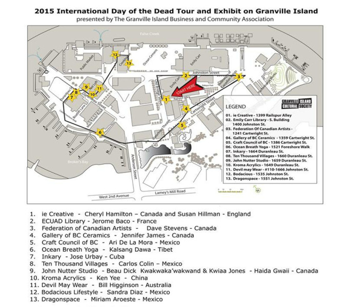 Day of the Dead Tour and Exhibit Map