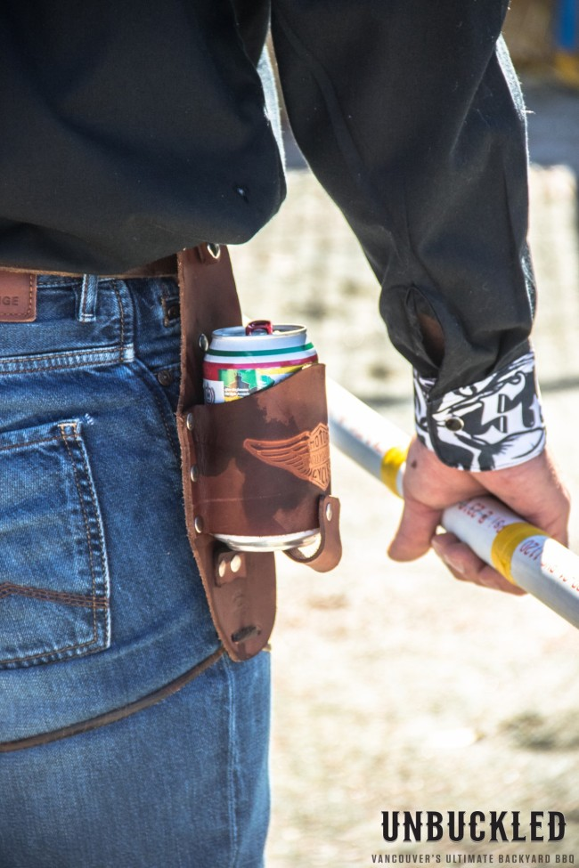 Man with beer can in holster from Unbuckled