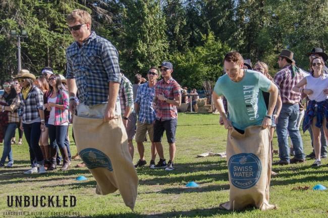 Potato sac races at Unbuckled