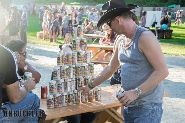 Stack of beer cans at Unbuckled
