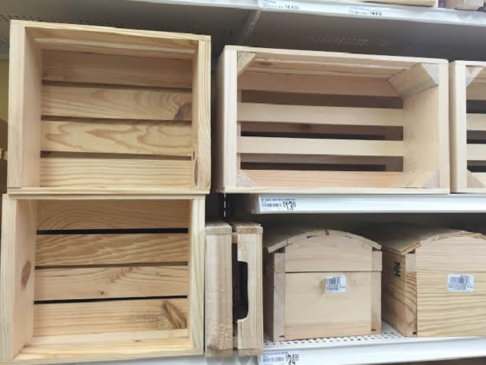 Wooden crates for sale at Michael's. Image credit: Erica Gordon