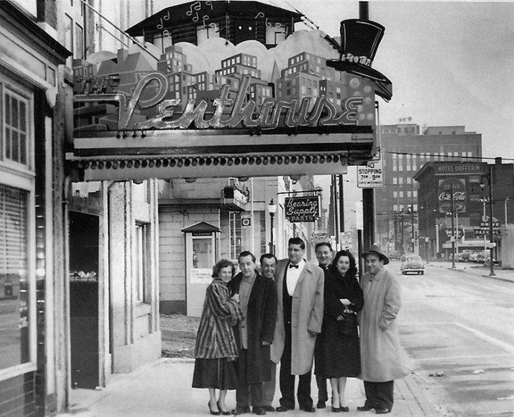 The Penthouse Nightclub in 1952 - owner Ross Filippone outside with friends. Image via the Penthouse Nightclub.