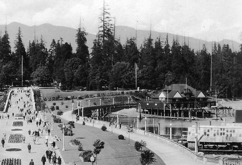 The entrance to Stanley Park and the Royal Vancouver Yacht Club in 1928. Image via the City of Vancouver Archives: St Pk P54.