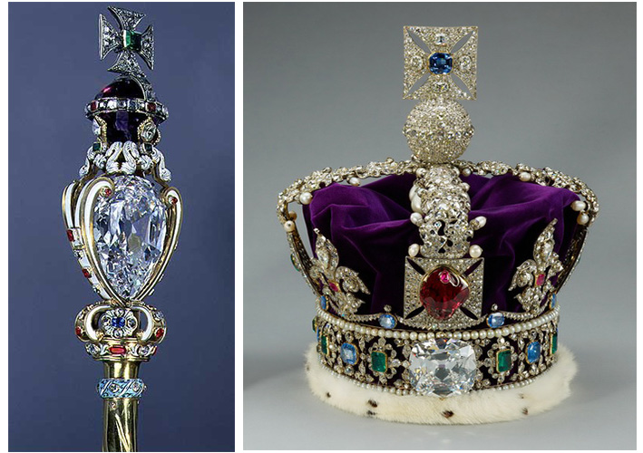 Two of the Cullinan diamonds place on the Queen's Crown Jewels, Image: Cullinan Diamond