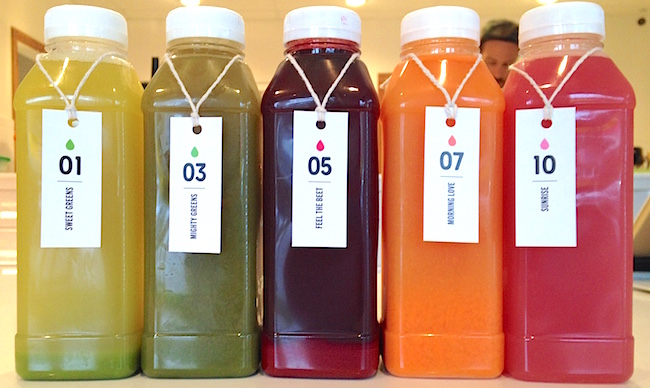 Some of Commodity's cold-pressed juices (Lindsay William-Ross/Vancity Buzz)