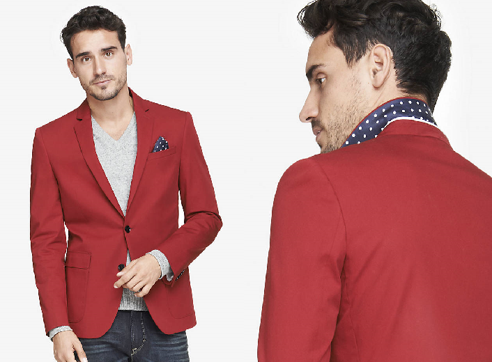 Slim Photographer Twill Red Blazer from Express ($138)