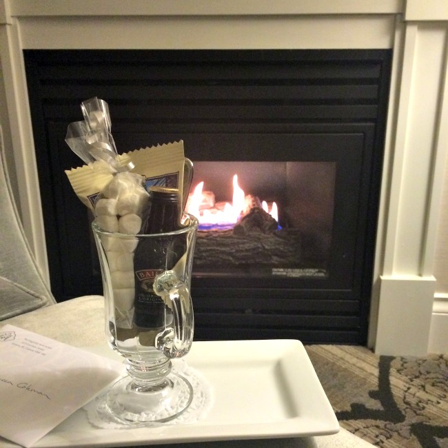 Bailey's Hot Chocolate by the fire at the Magnolia Hotel and Spa. Photo by Rebecca Coleman