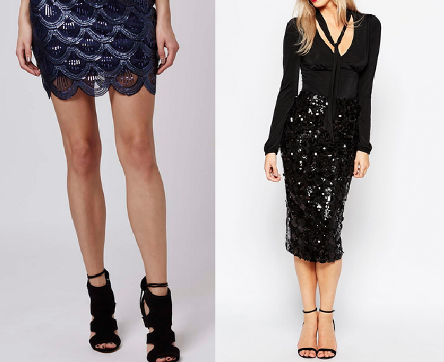 TopShop Scallop Sequin Mini Skirt (Left) ASOS Bohoo Sequin Midi Skirt (Right)