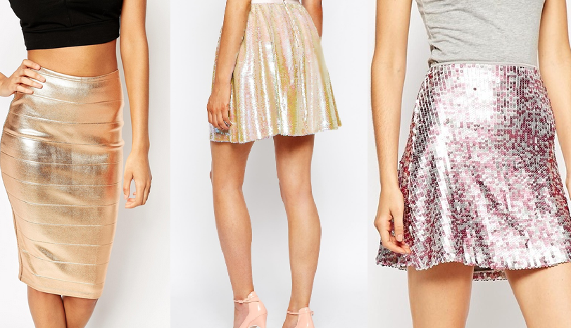 ASOS rose gold Foil Bandage Skirt (left) ASOS Motel Weaver Sequin Skirt (middle) ASOS Sequin Skater Skirt (right)