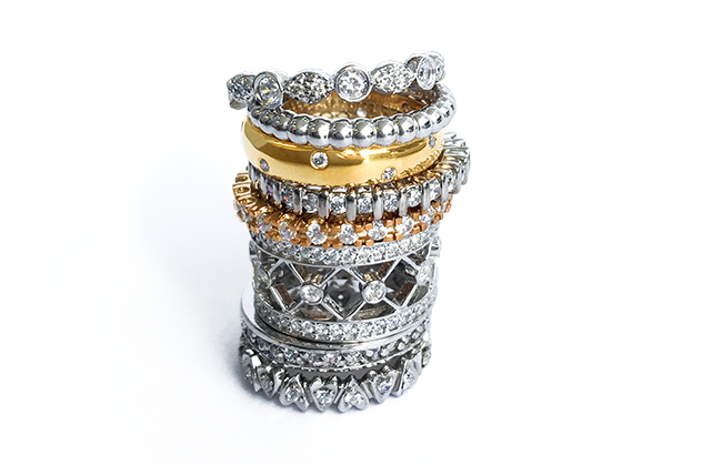 Image: Spence Diamonds/Stackable rings are very popular this season and come in a variety of colours and designs. You can't have just one!