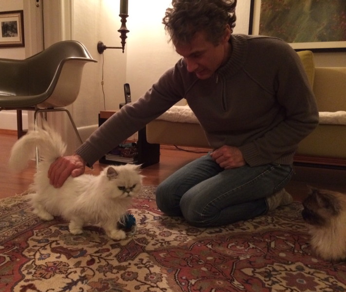 Maria's husband petting Prudence
