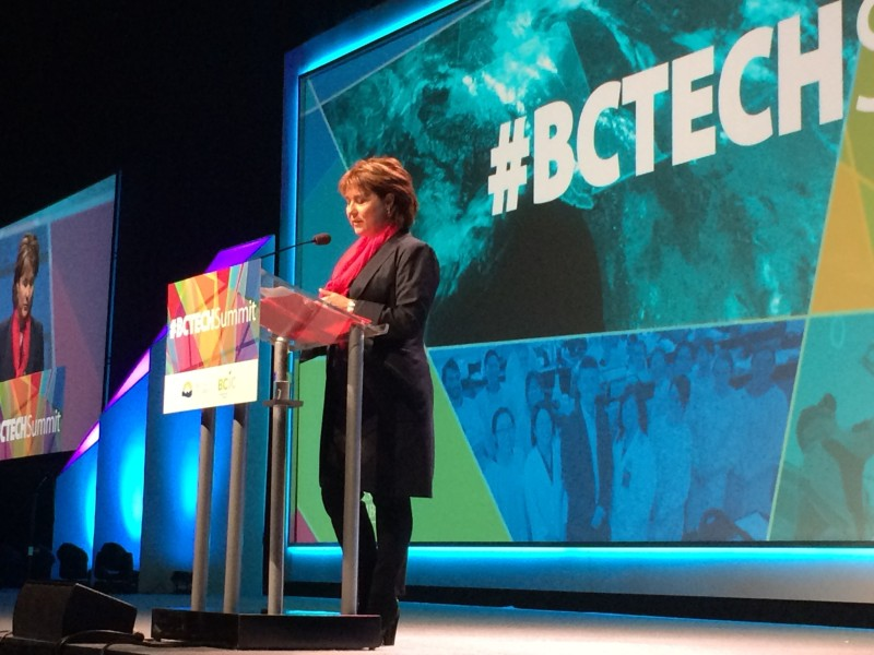 Premier Christy Clark speaks at the inaugural BC Tech Summit. Image: Vancity Buzz