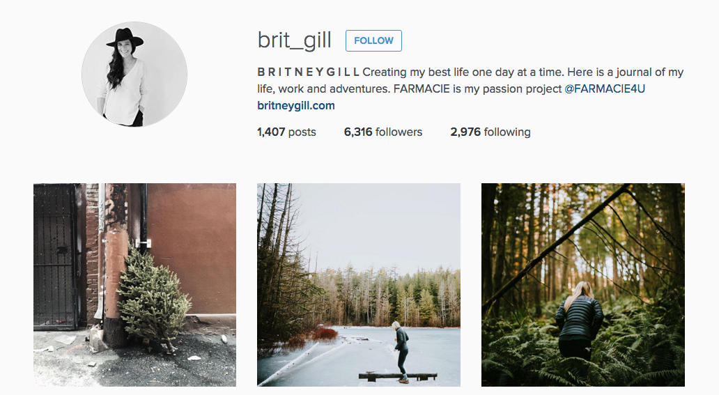 Vancouver lifestyle photographer Britney Gill's Instagram profile