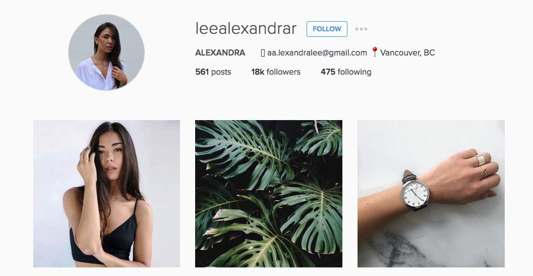 Aritizia Merchandiser Alexandra Lee's Instagram page