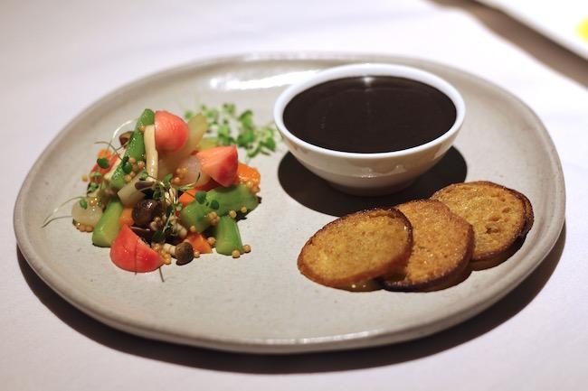 Sturgeon Liver pate with pickled veggies (Lindsay William-Ross/Vancity Buzz)