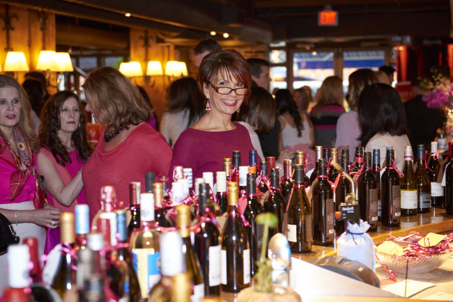 The wine wall at Pink Shirt Day Ladies Luncheon (Erich Saide photography)