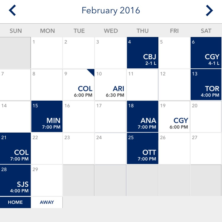Canucks Feb Schedule