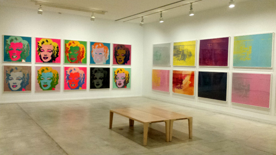 Installation view of Andy Warhol's series Marilyn, 1967 and Electric Chairs, 1971