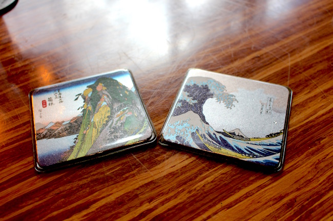 Look for a few remnants from Shirakawa, like these cool coasters (Lindsay William-Ross/Vancity Buzz)