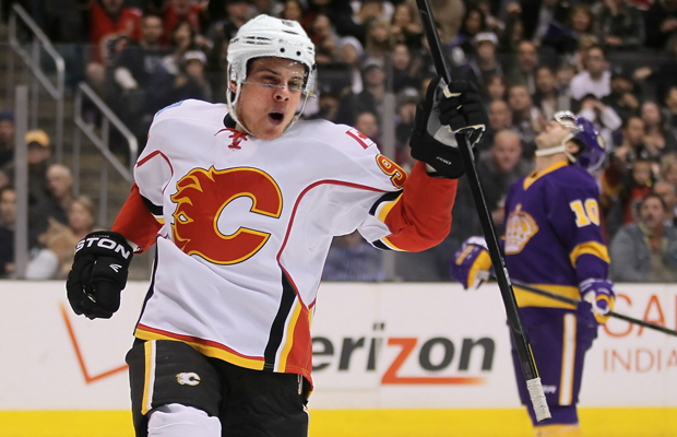 LOS ANGELES, CA - FEBRUARY 18: Mike Cammalleri #93 of the Calgary Flames celebrates a goal against the Los Angeles Kings in the third period at Staples Center on February 18, 2012 in Los Angeles, California. The Flames defeated the Kings 1-0. (Photo by Jeff Gross/Getty Images)
