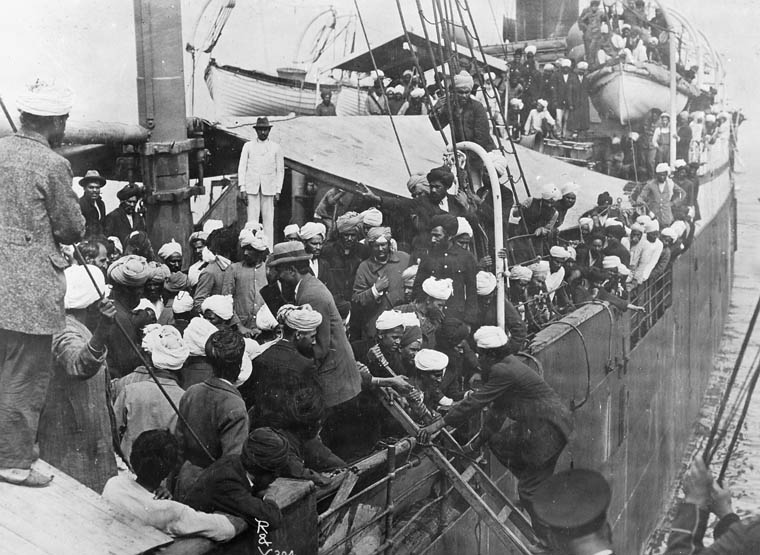 Sikh immigrants on board the Komagata Maru in English Bay in 1914. (Library and Archives Canada / PA-034014)