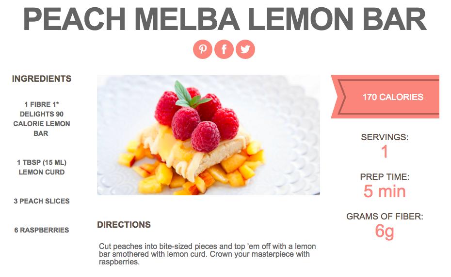 Peach Melba Lemon Bar / Fibre 1