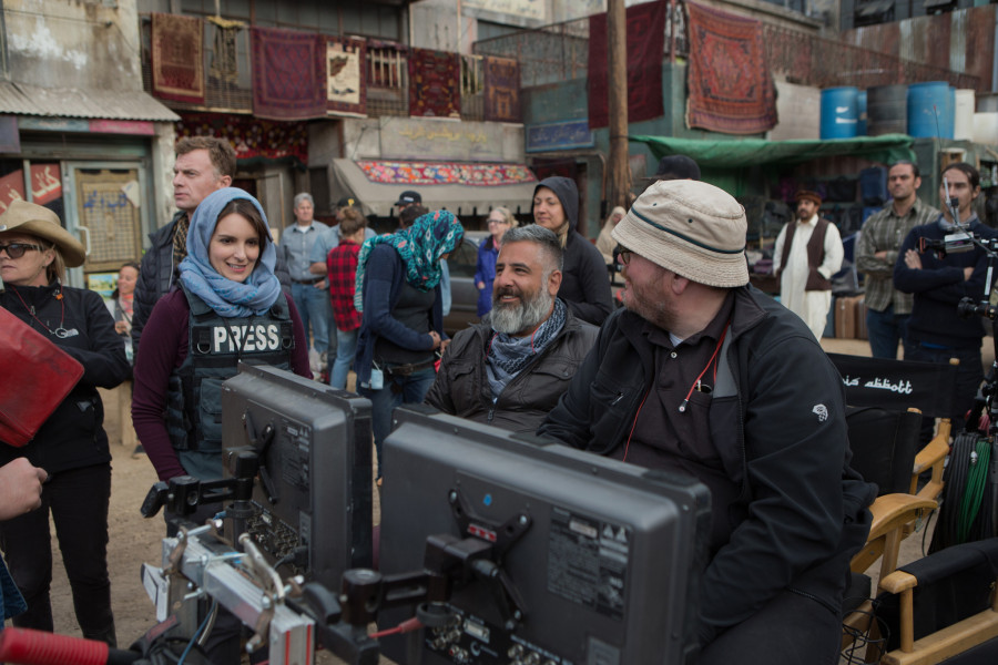 Left to right: Tina Fey, Director Glenn Ficarra and Director John Requa on the set of Whiskey Tango Foxtrot from Paramount Pictures and Broadway Video/Little Stranger Productions in theatres March 4, 2016.