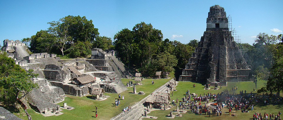 Temple I on The Great Plaza and North Acropolis seen from Temple II in Tikal, Guatemala (Bjørn Christian Tørrissen/Wikimedia Commons)