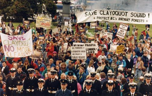 People at the Clayoquot Sound protest against clear cut logging (Wilderness Committee)