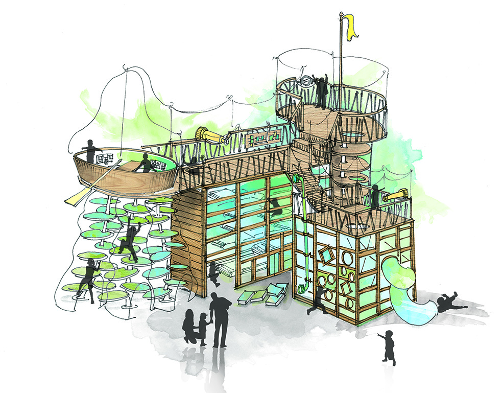 """The """"Climb"""" area will feature a layered climb up to a wooden boat and an interactive capture the flag game (Science World)"""