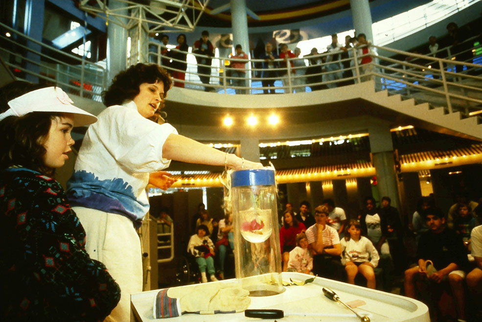 Conducting science experiments for visitors in 1989 (Science World)