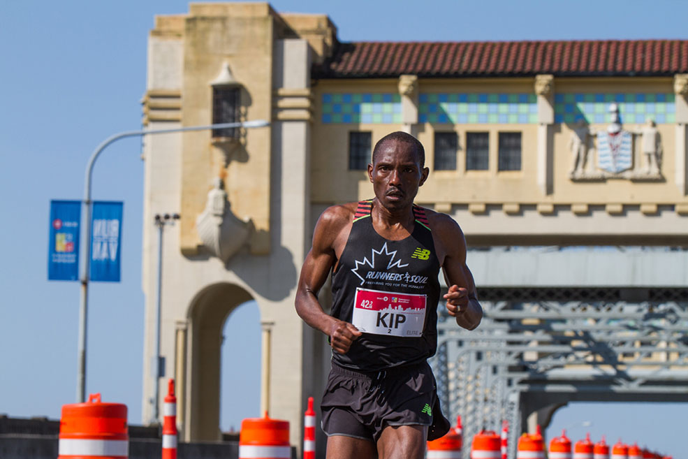 Kenyan elite runner Kip Kangogo at the BMO Vancouver Marathon (BMO Vancouver Marathon)