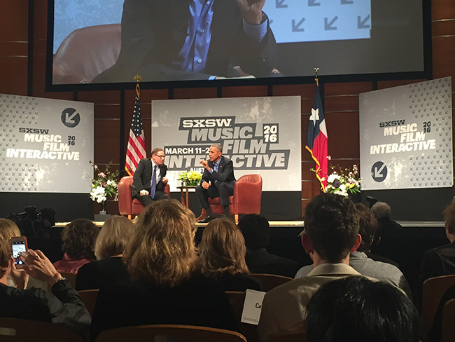 Image: President Obama delivering his keynote at SXSW 2016/Eventbase