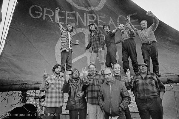 The Greenpeace founders on their first voyage (Robert Keziere/Greenpeace(