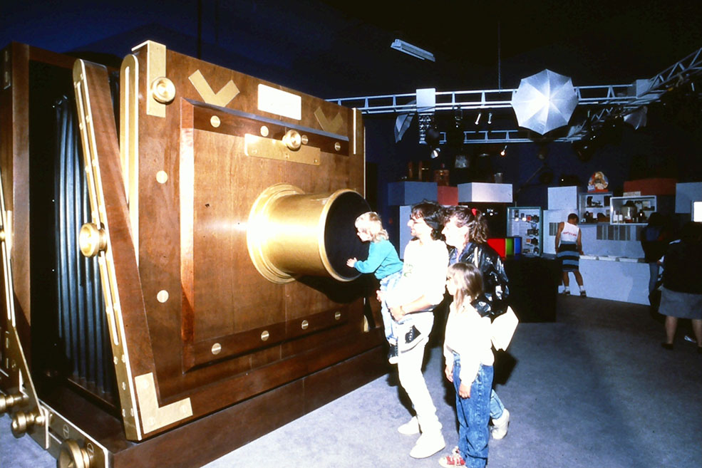 Inside a giant camera at the newly opened Science World in 1989 (Science World)
