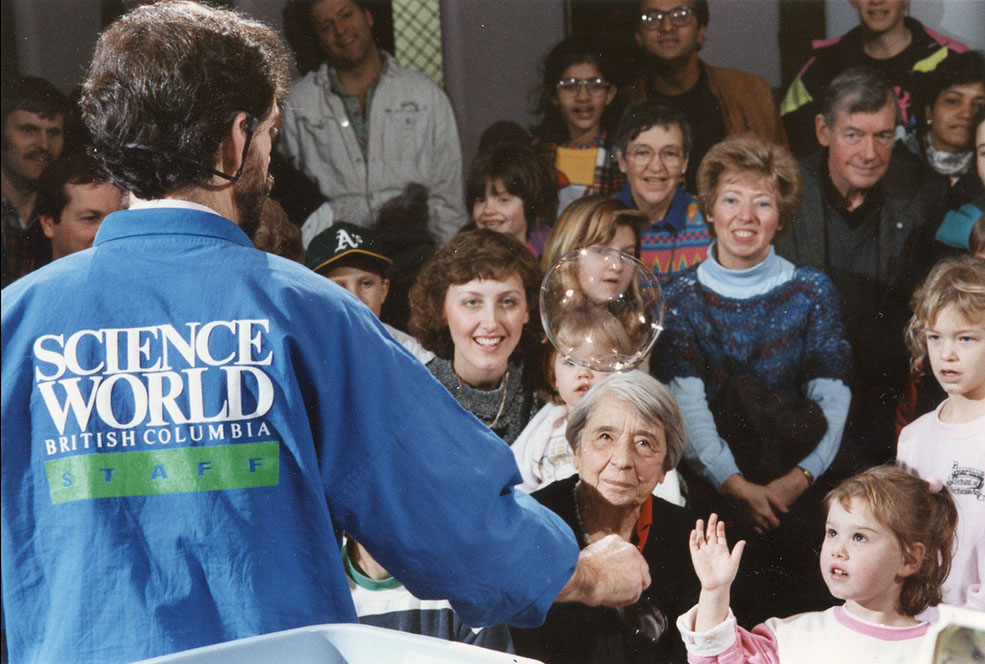 A young visitor marvelling at bubbles at Science World in 1989 (Science World)