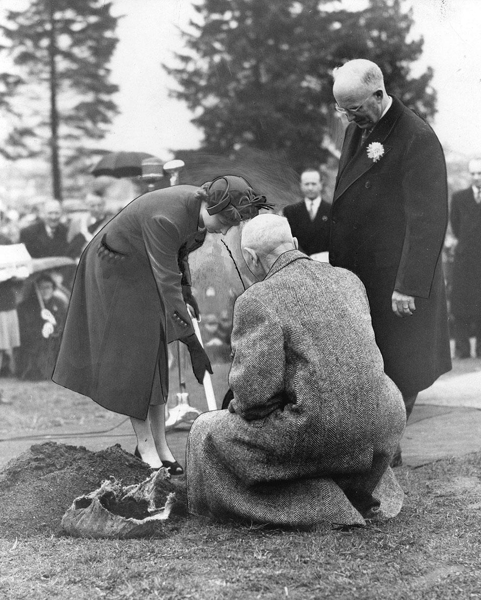 Princess Elizabeth planting a sapling in Queen Elizabeth Park in 1951 (Public domain)