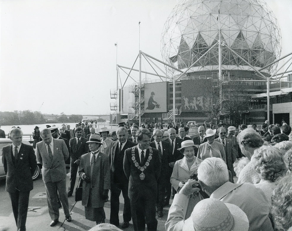 "Queen Elizabeth dedicated the building ""for the people of British Columbia"" (Science World)"