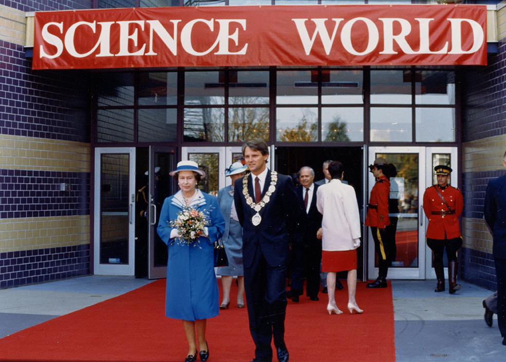 Queen Elizabeth II visiting the newly re-named Science World in 1987 (Science World)